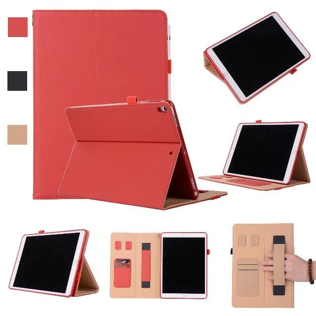 2017 New Business Luxury Pu Leather Stand Case Cover Hand Strap For iPad Pro 10.5 with Card Slot
