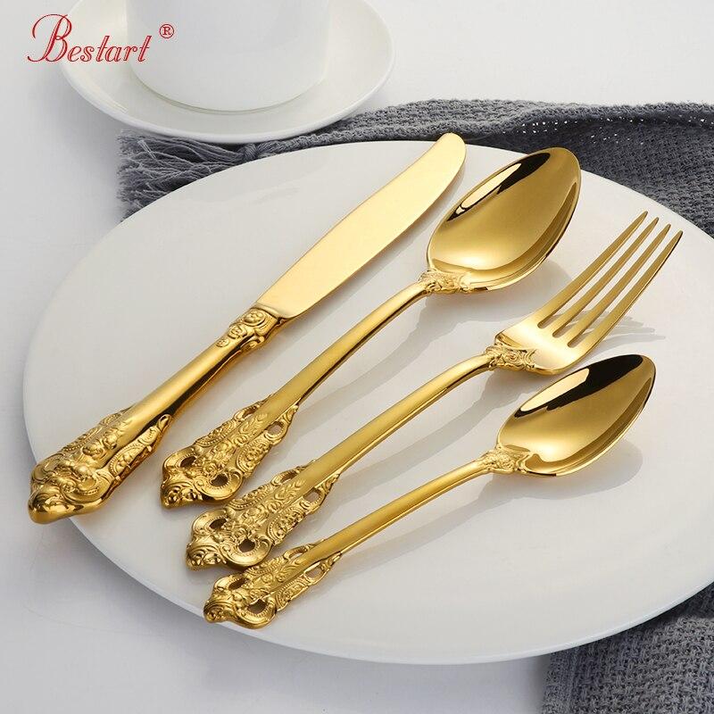 1 lot/24 Pcs Luxus Gold Besteck Set Gold Überzogene 18/10 edelstahl Geschirr Set Abendessen Gabel Dining Messer esslöffel für 6-in Geschirr-Sets aus Heim und Garten bei  Gruppe 1
