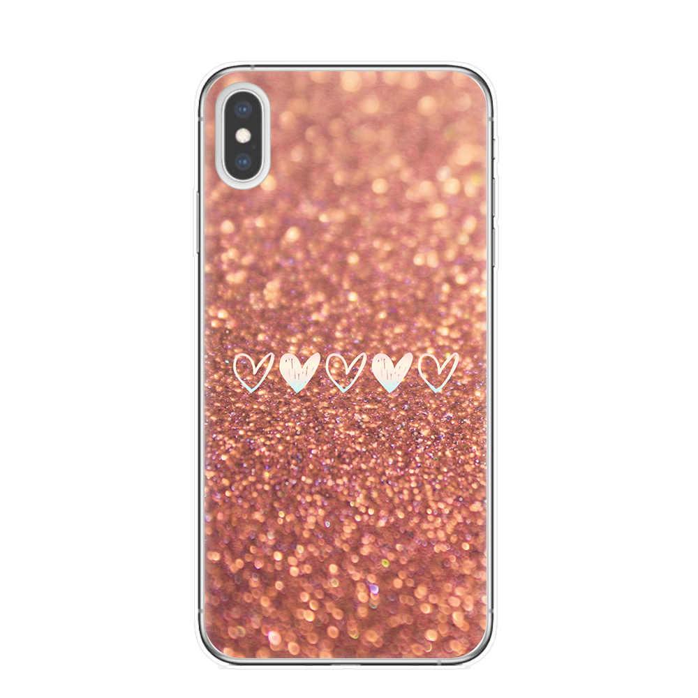 Vàng Hồng Lấp Lánh Hình In Độc Đáo Ốp Lưng Điện Thoại Iphone 11 Pro XS Max X XR 8 7 6 6S plus 5 5S SE Mềm Mại Ốp Lưng Silicone Fundas