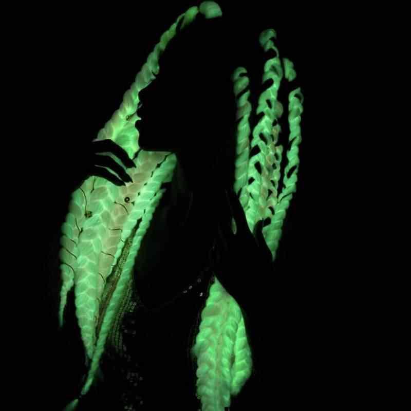Роскошный для плетения 24 дюйма 100 г Светящиеся большие синтетические косы Сияющие волосы в темноте мягкие плетеные волосы для наращивания