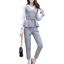 YICIYA women office 2 piece set pant suits and top elegant outfit ladies plus size autumn winter clothes Sashes slim bodycon