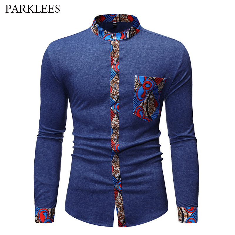 Mens Hipster Patchwork Mandarin Collar Shirts 2019 Fashion African Dashiki Print Long Sleeve Shirt Men Business Casual Chemise