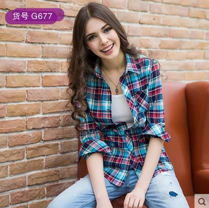 20 COLORS Punk Plaid Shirt Female Long Sleeve Loose Checked Shirts Women  Ladies 2015 New Blouse Checkered Shirt Women s Tops b3bd62d7c5