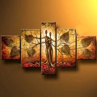 Handpainted Wall Art Modern Abstract Lover Figures Tree Of Life Pictures For Home Decoration 5 Piece