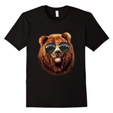 T Shirt Swag Grizzly Bear Bust In Aviator Sunglass