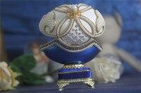 Chất Lượng cao Màu Xanh Ngọc Trai Flower Nhạc Hộp Mở Cửa Vỏ Trứng món quà Sáng Tạo Hộp Đồ Trang Sức Musical hộp món quà Giáng Sinh Phụ Nữ Cô Gái