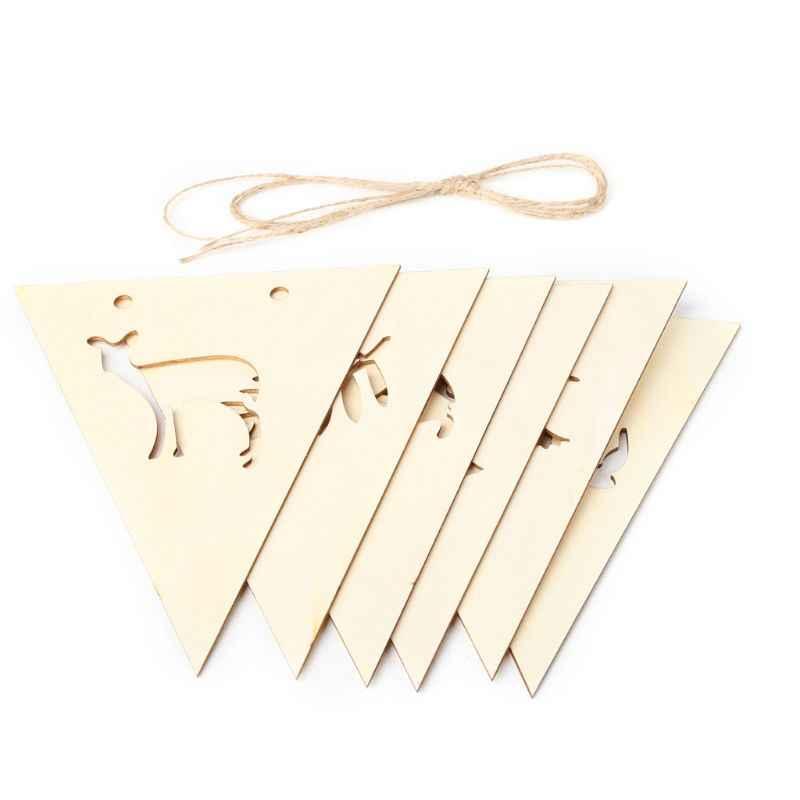 1 Набор деревянных Вымпел флаг, баннер, вымпел с полым животным деревом детская спальня висячие украшения DIY рождественские подарки