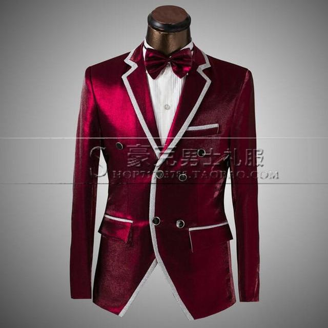 85ea2af2b7 Doble breasted vino rojo estilo hombres Trajes Blazers slim fit etapa  cantante Ropa de baile para