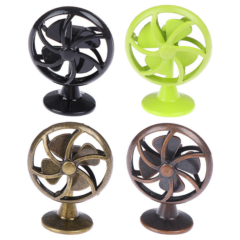 1/12 Dollhouse Miniature Accessories Mini Alloy Electric Fan Simulation Model Toys for Doll House Decoration