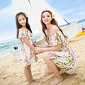 2016 new summer dresses family look beach vacation short suit matching mother daughter dresses clothes family clothing