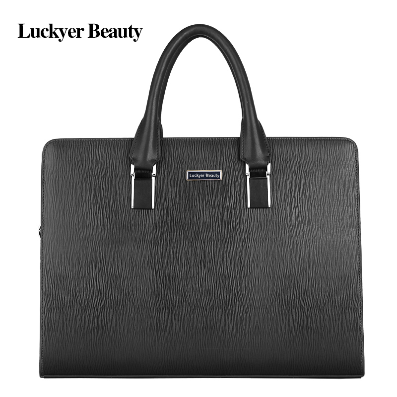 LUCKYER BEAUTY 15 Laptop Shoulder Bag for Business Men Top Genuine Leather Work Briefcase Bags with Strap Casual Male Handbag LUCKYER BEAUTY 15 Laptop Shoulder Bag for Business Men Top Genuine Leather Work Briefcase Bags with Strap Casual Male Handbag