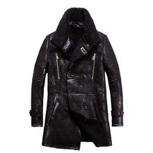 人気本物の羊の毛皮男性コート本物の羊ムートンジャケット男性冬生き抜くブラック男性毛皮のオーバーコート4XLビッグサイズ