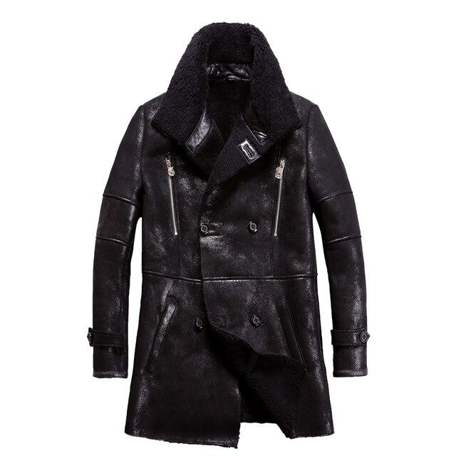 Chaqueta de piel de oveja auténtica Popular para hombre, chaqueta de piel de oveja genuina para hombre, prendas de vestir cálidas para invierno, abrigo de piel negro para hombre, talla grande 4XL