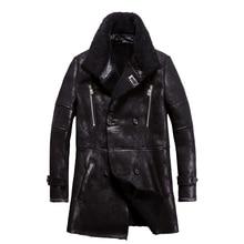 ยอดนิยมจริงSheepskin Men Coatของแท้แกะShearlingแจ็คเก็ตชายฤดูหนาวWarm Outwearสีดำผู้ชายขนสัตว์Overcoat 4XLใหญ่ขนาด