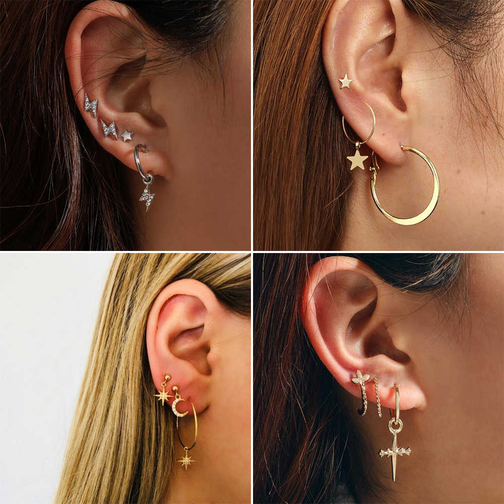 Bohemia Crescent Moon Cross Earrings Set Trendy Personality Crystal Geometric Round Ear Stud Brincos Birthday Jewelry Gift