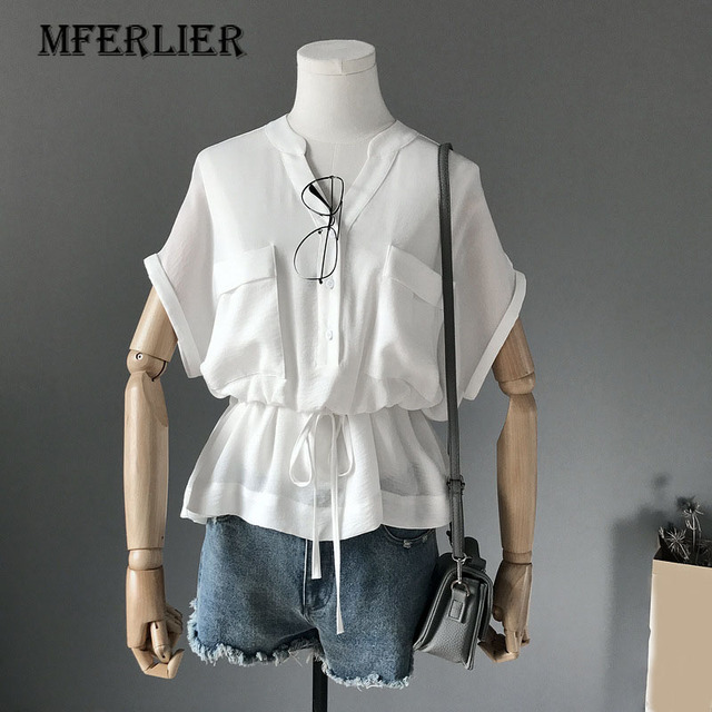 67e8d03c5e Fashion Solid Short Sleeve Blouse V Neck Single Breasted Two Pocket Ladies  Tops Waist Drawstring Draped Womens Tops and Blouses