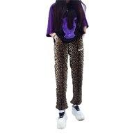 Leopar Baskı Gevşek Eğlence Pantolon Kadın Streetwear Hip Hop Kore Moda Pantolon Kadın Casual Sweatpants Dans Pantolon 50B0027