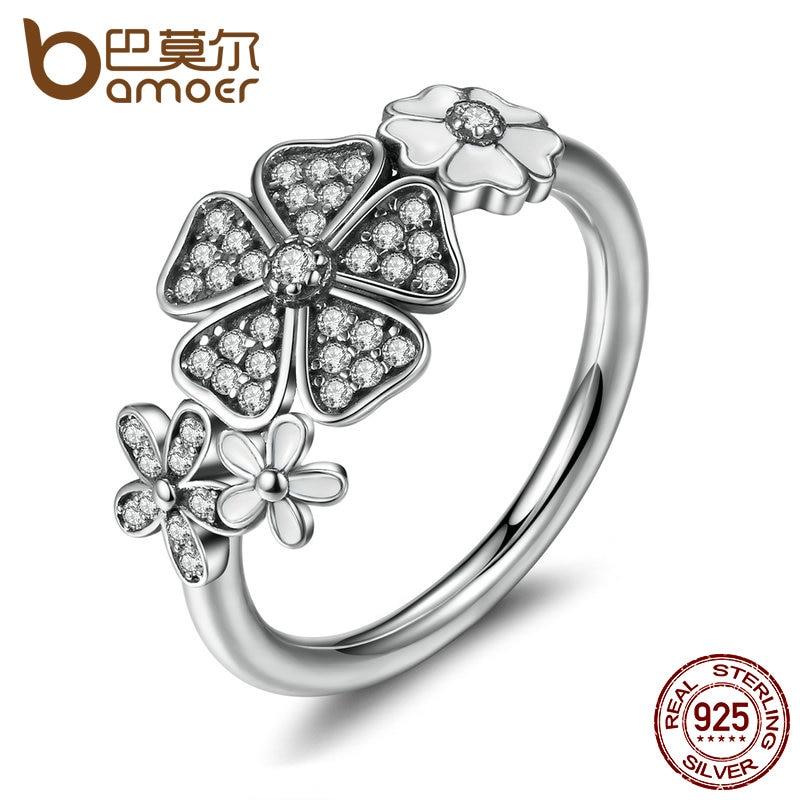 Prix pour BAMOER 925 Sterling Argent Shimmering Bouquet, blanc Émail & Clear CZ Fleur Bagues pour Femmes Cadeau De Mariage PA7176