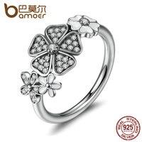 BAMOER 925 Sterling Silver Shimmering Bouquet White Enamel Clear CZ Flower Finger Rings For Women Wedding