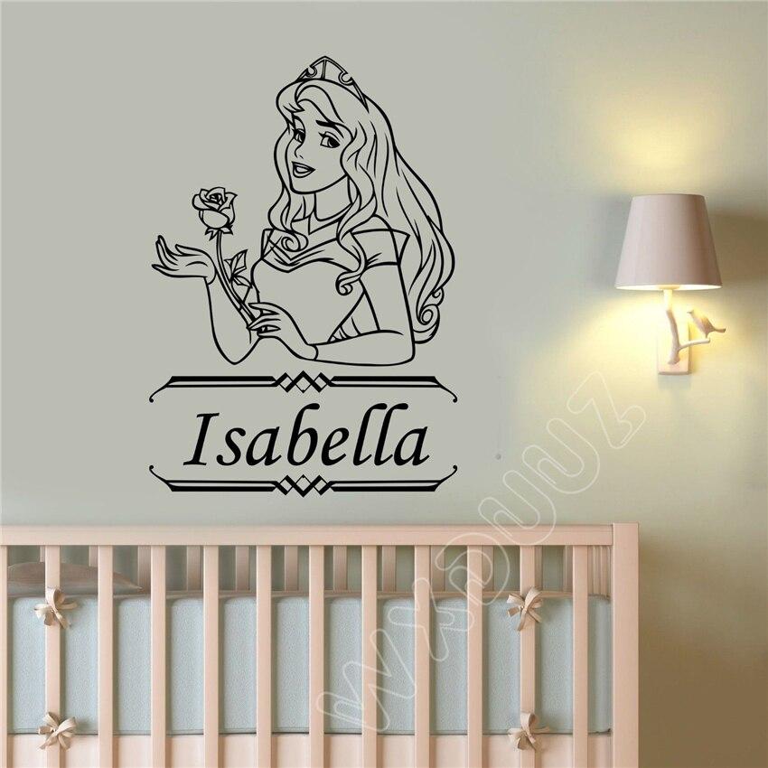WXDUUZ Cartoon Princess Aurora Custom Name Decor Nursery Kids Room quote Home Decor Vinyl Wall Sticker bedroom Poster B93