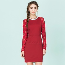 2016 women new clothes Beads long-sleeved lace patchwork under dress  package hip Slim Knit Dresses 6148