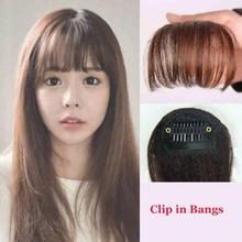 Women Clip Bangs Hair Extension Fringe Hairpieces False Synthetic Hair Clips Front Neat Bang HS11
