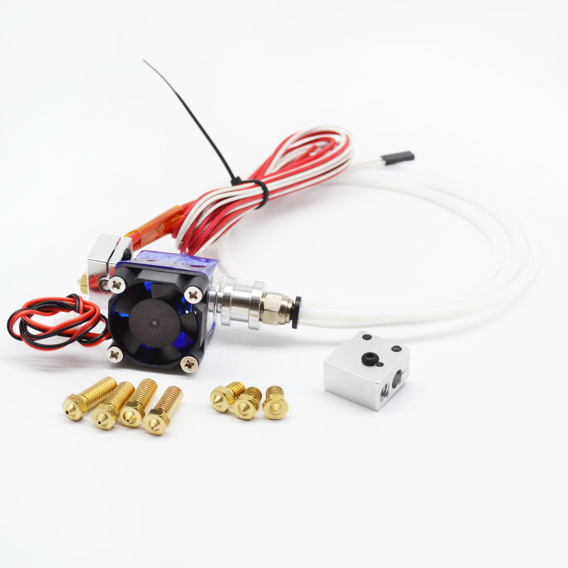 3D printer Bowden e3d V6 remote J-head Hotend print head extruder with Cooling Fan heat block Teflon tube V6 Volcano+Nozzle Kit tronxy v6 bowden extruder print j head hotend with teflon tube and cooling heat for 3d printer