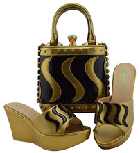 مجموعة الأحذية والحقائب المتطابقة باللون الذهبي مجموعة الأحذية والحقائب الإيطالية للسيدات مزينة بحجر الراين والحفلات الأفريقية MD005