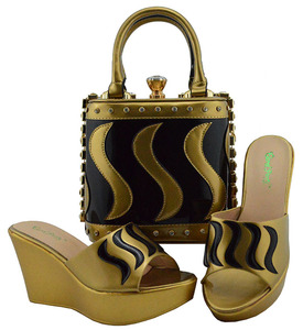 Image 1 - Matching Shoes and Bag Set Gold Color Italian Ladies Shoe and Bag Set Decorated with Rhinestone African Party Shoes MD005