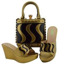 Sapatas de harmonização e Saco Definir a Cor de Ouro Senhoras de Sapato e Bolsa Conjunto Italiana Decorada com Strass Sapatos de Festa Africano MD005