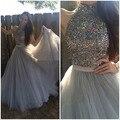 Brillante Crystal Vestido Halter Una Línea de Vestidos de Graduación 2017 Vestido de Noche Largo Formal Del Vestido de Tulle del Tren del Barrido Hombro