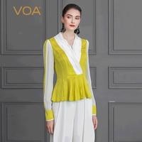 VOA шелк Футболка осенние женские Топы с длинным рукавом Для женщин рубашки желтый сладкий Slim большой Размеры Туника оборками Office Basic B815