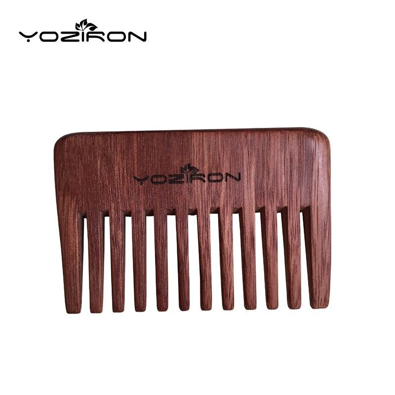 Yoziron Peach Wooden Small Mini Pocket Comb Red Color Wide