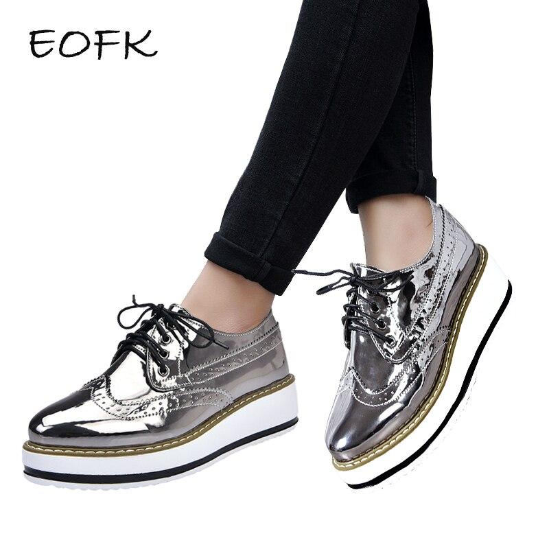 be5eefbff0a EOFK Women Brogue Shoes Women's Flat Platform Shoes Woman Patent Leather  New Autumn Ladies Lacquered Shoes