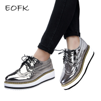 EOFK Women Brogue Shoes Women's Flat Platform Shoes Woman Patent Leather New Autumn Ladies Lacquered Shoes Women's Casual Flats