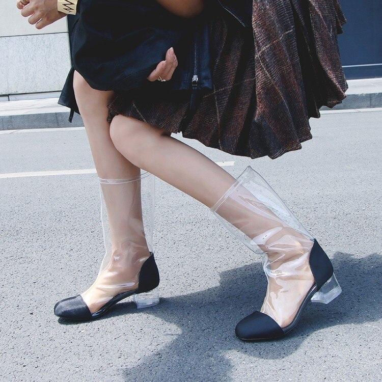 as Bottes Mode 43 Show Show Pvc Sexy Soie Noir as Botas Catwalk 25cm Cool Blanc Courtes Transparent Femmes Chaussures Show Carré As Talons 38cm 38cm 2018 Femme 5t4wxnxHSq