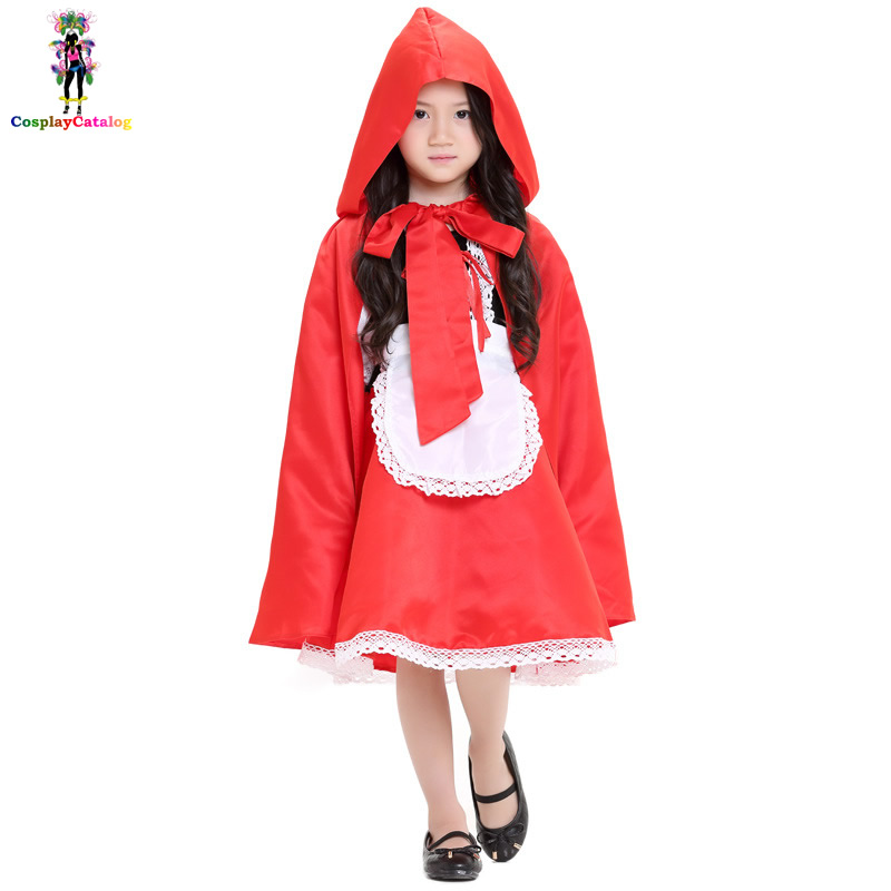 Halloween Little Red Riding Hood Girl Costume Children Princess Red Dress with Cloak Party Fancy Kids Costumes High 108-145 CM