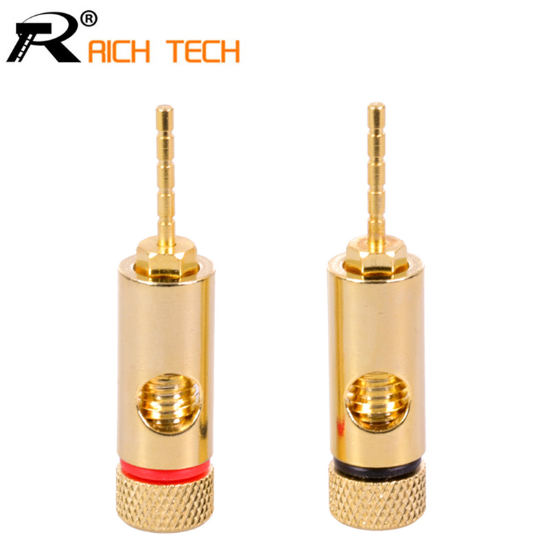 2pcs PIN Plug 24K Gold Copper Speaker Pin 2mm Banana Plugs Straight Speaker Wire Screw Lock Connector 4pcs new 4mm plugs gold plated musical speaker cable wire pin banana plug connectors
