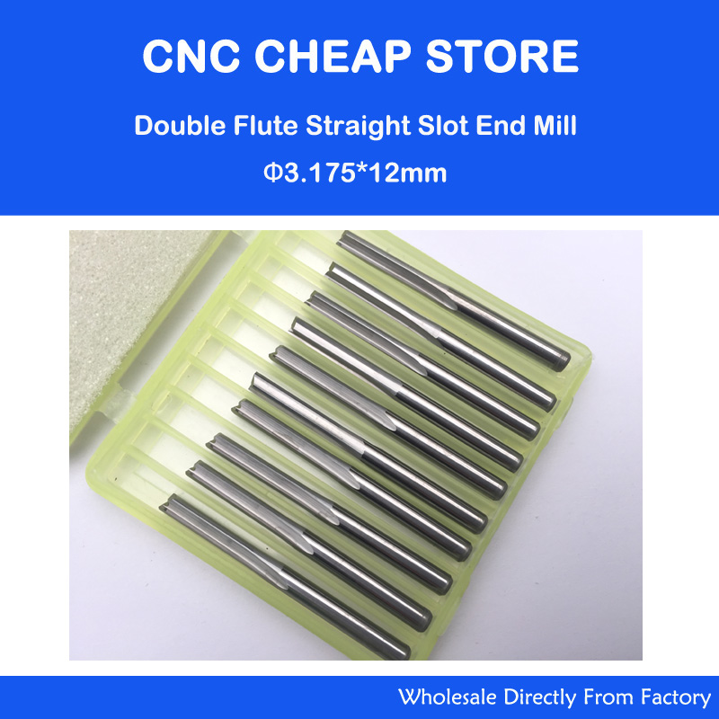 10pcs Double Flute Straight Slot Carbide Cutters CNC Router Bits 3.175mm *12mm