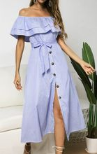 Women Summer Beach Off Shoulder Striped Ruffle Button BOHO Midi Dress