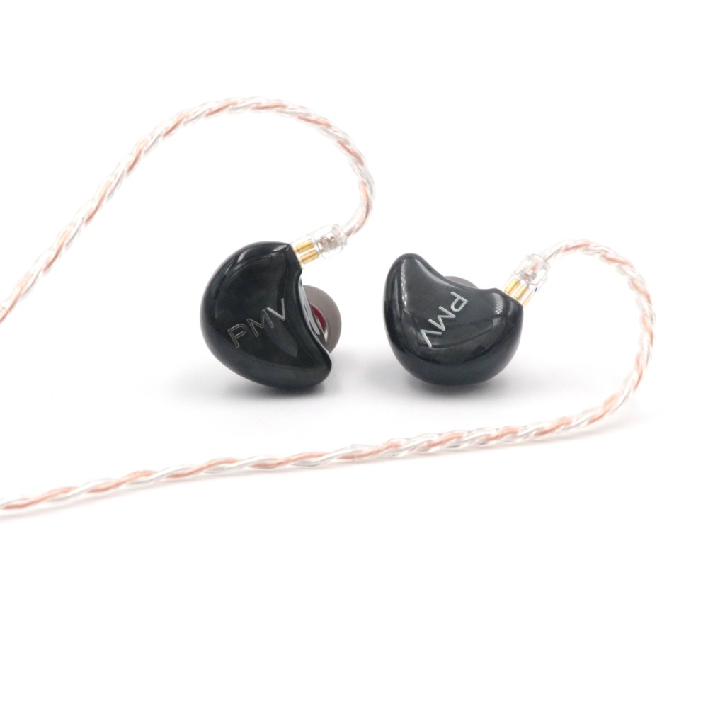 PMV 1DD+4BA 5 Drivers HiFi in-Ear Earbuds with 3 Way Crossover, Detachable 2 Pin 0.78mm 4 Core Silver Plated Cable IEM