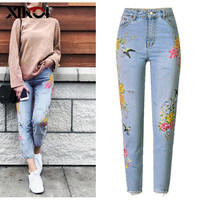 XIKOI Embroidery Flower Stretch Women Jeans Light Blue High Waisted Skinny Jeans Plus Size Floral Pants Womens Denim Pants Woman