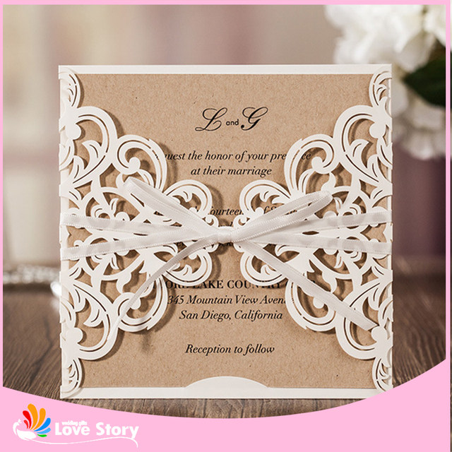 Online shop 10sets luxury laser cut wedding invitations cards if you need printing wedding detail in this cardwe can customized it but moq need more than 50pcs 5if you any question please contact with seller stopboris Image collections