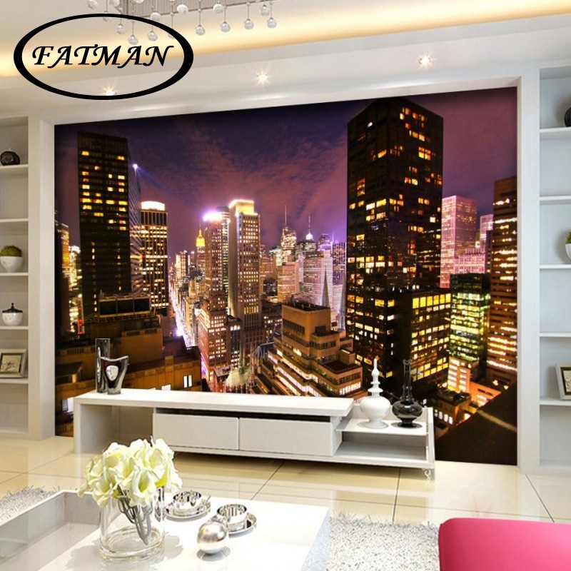 Custom photo wallpaper European style night view skyscraper building living room background corridor office wallpaper mural