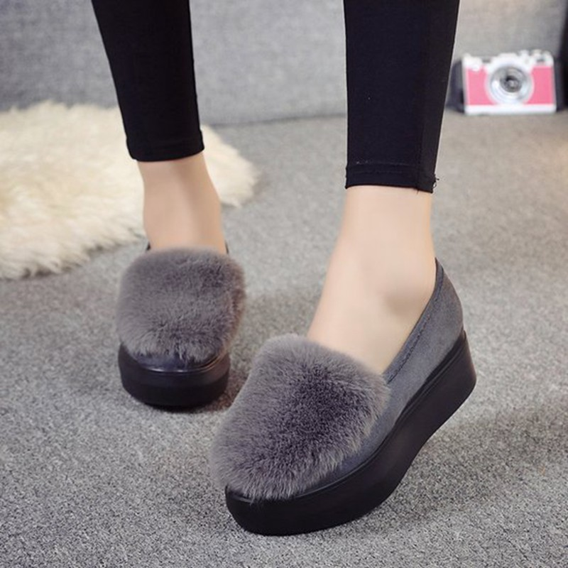 COOTELILI Winter Women Shoes Loafers Plus Size Creepers Flat Platform Casual Shoes Slip On Flat Shoes For Female Moccasins  (6)