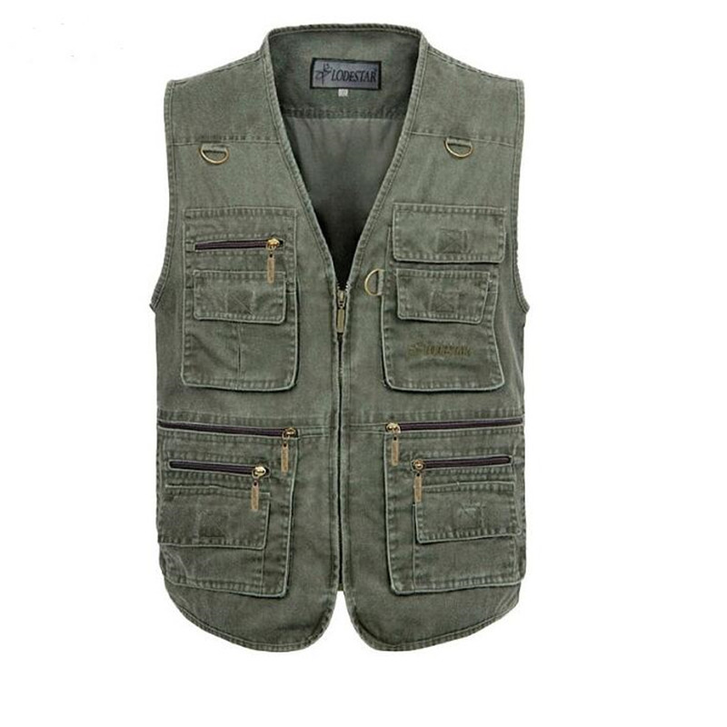2016 New Autumn Tactical Sleeveless Denim Jacket Vest Mens Casual Multi-pockets Photogra ...