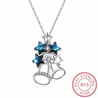 925 Solid Sterling Silver Small Bell Necklace Women Girl Sweet Star Blue Crystal From Swarovski Necklace For Fine Jewelry