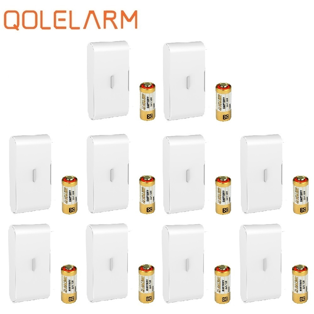 QOLELARM 10pcs 433MHz Wireless Glass Vibration Sensor Break Detector With Baterry For Security Home WiFi Gsm Alarm System
