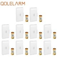 QOLELARM 10 chiếc 433 Mhz Không Dây kính cảm biến rung phá báo với Baterry an ninh WiFi nhà GSM hệ thống báo động
