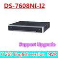Frete grátis DHL inglês versão DS-7608NI-I2 2 SATA 8ch NVR suporte de câmera de, Plug & play H.265